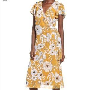 NWT Row A Floral Surplice Midi Wrap Dress Medium M